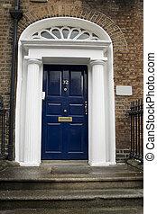 mörkblå, georgian dörr