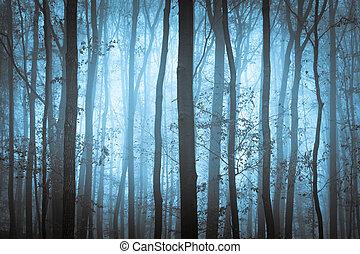 mörkblå, hemsökt av spöken, forrest, med, träd, in, dimma