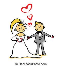 mörker, äktenskap, tecken, tecknad film, brud