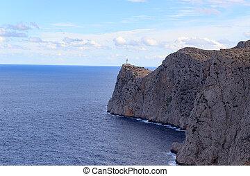 mössa, av, formentor, fyr, och, klippa, kust, med, medelhavet, mallorca, spanien