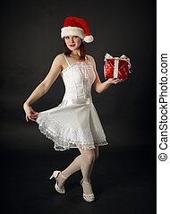 mössa, kvinna,  celebratory, gåva, jul