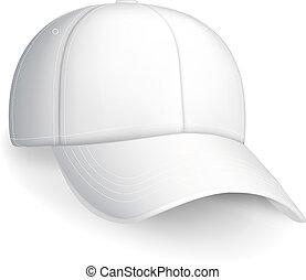 mössa, vit, vektor, baseball