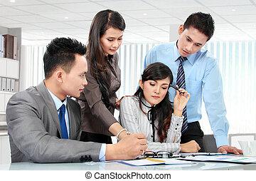 möte, affär, tillsammans