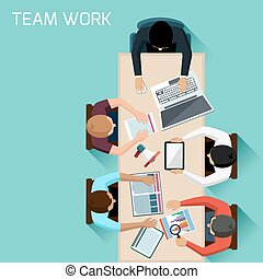 möte, arbetare, brainstorming, kontor