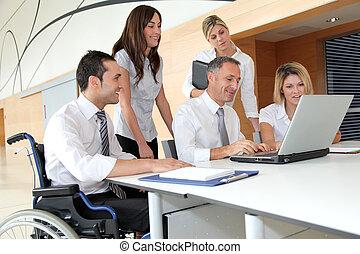 möte, arbetare, grupp, kontor, affär