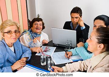 möte, konversation, folk affär