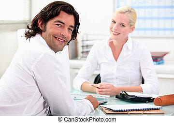 möte, med, a, finans, rådgivare