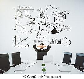 möte rum, med, bord, och, stol, och, a, affär, diagram, på, väggen