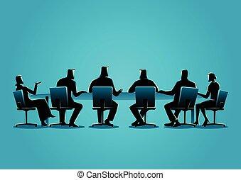 møde, har, folk branche