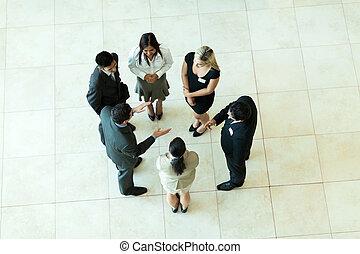 møde, ovenover, firma, udsigter
