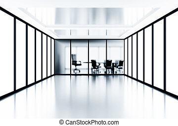 møde rum, og, glas, vinduer, ind, moderne, kontor bygge