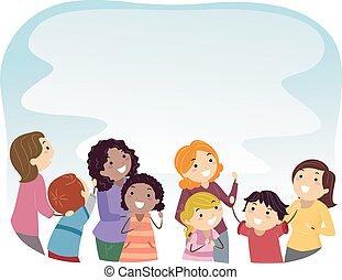 mødre, kigge, børn, stickman, oppe