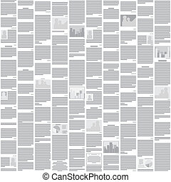 mønster, abstrakt, -, seamless, vektor, konstruktion, baggrund, avis, monochrome