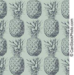 mønster, ananas, seamless