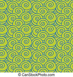 mønster, bølge, seamless, japansk