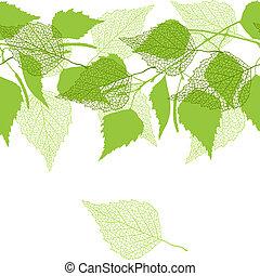 mønster, birk, grønne, leaves., seamless
