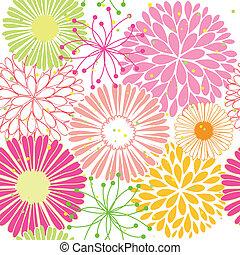 mønster, blomst, springtime, farverig, seamless