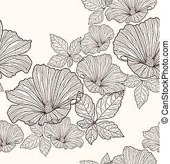 mønster, blomster, seamless
