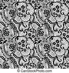mønster, blomster, snørebånd, seamless