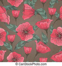 mønster, blomster, stram, seamless, hånd