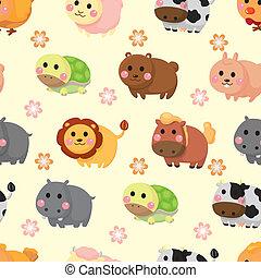 mønster, cartoon, dyr, seamless