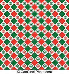 mønster, check, jul, seamless