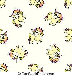 mønster, enhjørning, seamless, cute, stram, hånd