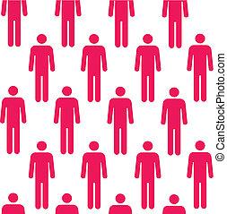 mønster, farve, silhuetter, seamless, person, rød