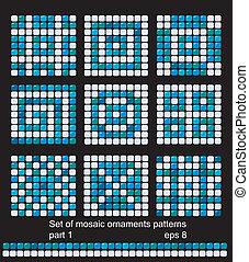 mønster, firkantet, baggrunde, mosaik