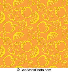 mønster, frugt, seamless