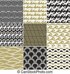 mønster, havet, seamless, bølge