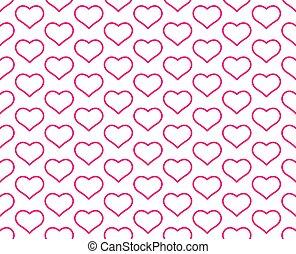 mønster, hjerte, kontur