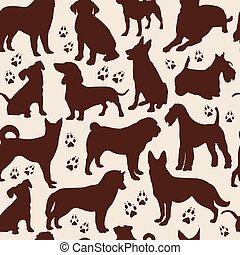 mønster, hund, seamless