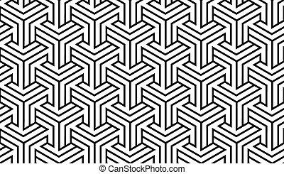 mønster, hvid, sort, geometriske