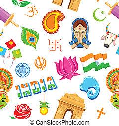 mønster, indisk, seamless