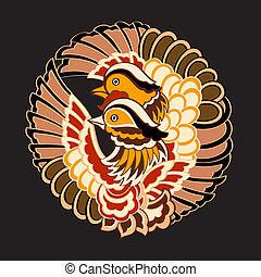 mønster, japansk, fugle