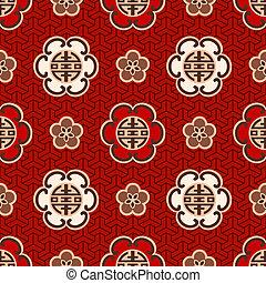 "mønster, karakter, ""shou"", kinesisk"