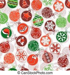 mønster, kontur, seamless, jul, balls., enkel