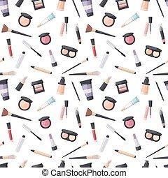 mønster, kosmetik, skønhed, seamless
