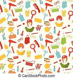 mønster, kvinde, materiale