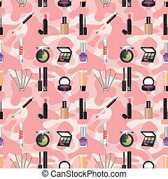 mønster, makeup, seamless