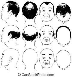 mønster, mandlig, asiat, skallethed