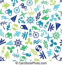 mønster, marin, seamless