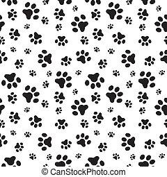 mønster, poter, hund, seamless