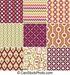 mønster, retro, seamless
