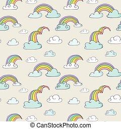 mønster, -, seamless, cute, regnbue