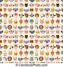 mønster, seamless, dyr ansigt