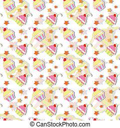 mønster, seamless, farverig, cupcake