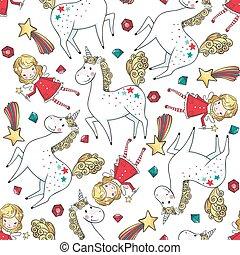 mønster, seamless, hånd, fairy., enhjørning, stram
