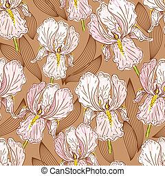 mønster, seamless, iris